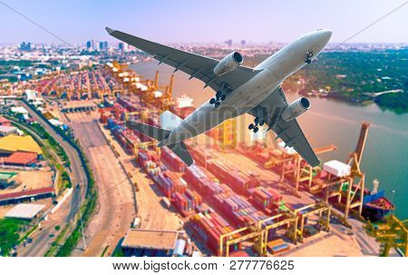Aerial View Logistics And Transportation Of Container Cargo Ship And Cargo Plane For Import Export A