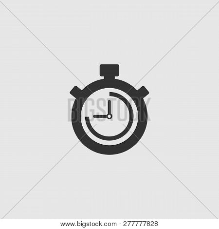 Stopwatch Vector Icon. The 45 Seconds, Minutes Stopwatch Icon On Gray Background. Clock And Watch, T