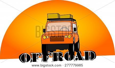 All-terrain Vehicle In Front Of The Sun With Lettering Offroad