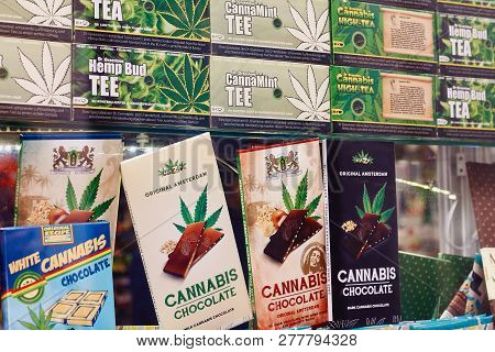 Amsterdam, North Holland, Netherlands, April 15, 2018: Chocolate And Tea With Cannabis In A Coffeesh