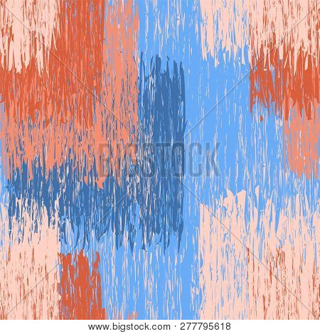 Seamless Pattern With Grunge Striped Square Shaded Elements In Blue,brown,beige Colors .optical Illu