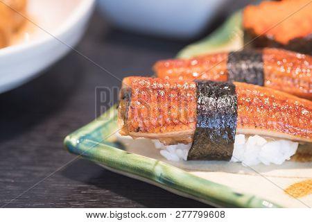 Anago (grill Eel) Or Unagi Sushi - Japanese Traditional Food Anago (grill Eel) Or Unagi Sushi Concep