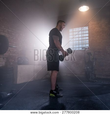Weightlifter preparing for training. Fitness workout training concept.