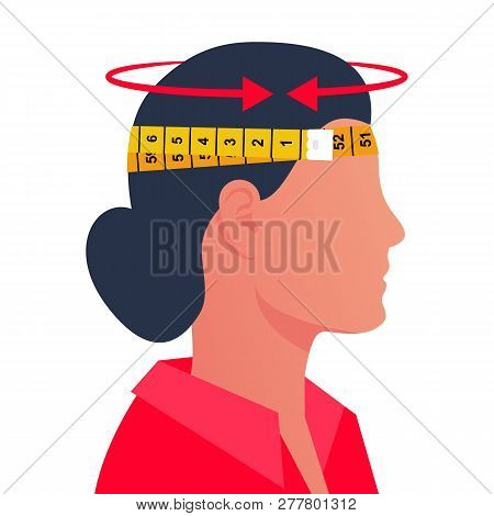 A Woman Measuring Her Head With A Centimeter. Diameter Of Head. Vector Illustration Flat Design. Iso