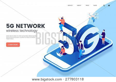 5g Network Wireless Technology Vector Illustration. Isometric Smartphone With Big Letters 5g And Tin