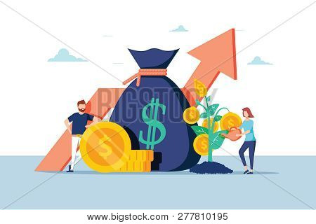 Investment Financial Business People Increasing Capital And Profits. Wealth And Savings With Charact