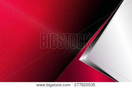 Geometric Red Background With White Corner, Grooved Mesh Frame And Arrow Silhouette.