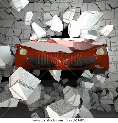 Car Breaking A Brick Wall, 3d Rendering