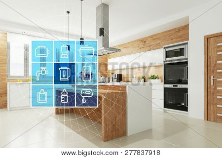 Modern kitchen with Smart Home technology interface for intelligent control and operation (3d rendering)