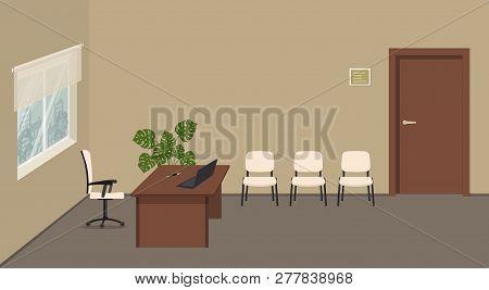 Beige Office Room. Office Reception. Directors Office. Secretarys Workplace. There Is A Brown Desk,