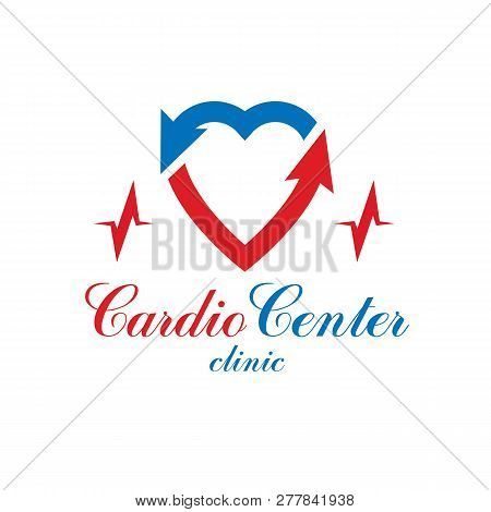Cardiology Vector Conceptual Emblem Made With A Heart Pulsating Electrocardiogram. Cardiology Diagno