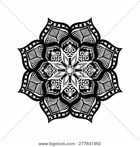 Black Vector Mandala On White Background. Modern Geometric Mandala. Round Decoration In Futuristic S
