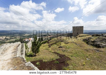 Celorico, Portugal - July 20, 2018:  The Medieval Mountain Castle Built In The 12th And 13th Centuri