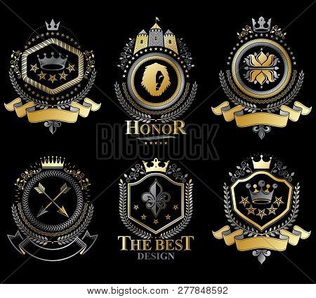 Set Of Vector Retro Vintage Insignias Created With Design Elements Like Medieval Castles, Armory, Wi