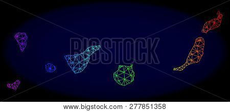 Spectrum Colored Mesh Vector Map Of Canary Islands Isolated On A Dark Blue Background. Abstract Line