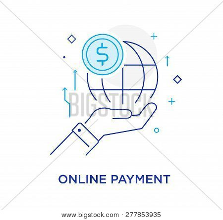 Hand Holding A Globe. Virtual Communication Smartphone. Cooperation Interaction. Vector Illustration