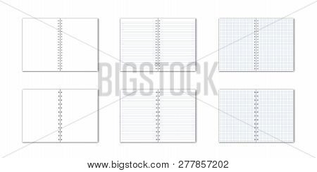Vetor Set Of Detailed Paper Notebook With Lines And Circular Binding On White Background.