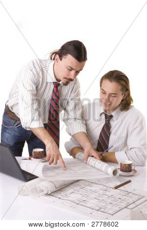 Engineers Working On The Home Plan To Office