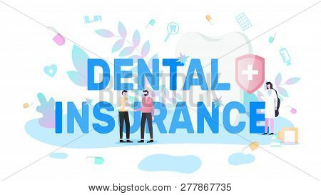 Dental Insurance Flat Vector Poster Or Banner With Man Handshaking With Insurance Company Manager Or