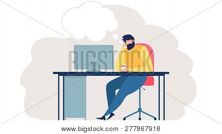 Pensive Man Sitting At Work Desk With Screen, Drinking Coffee And Thinking About Something Illustrat
