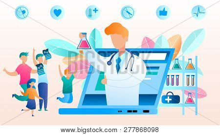 Vector Doctor Online Reports Good Result Analysis. Flat Illustration Happy Family Jumping For Joy Af