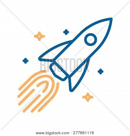 Trendy Thin Line Icon Of A Rocket In Space With Stars. Vector Illustration Of A Spaceship For Differ