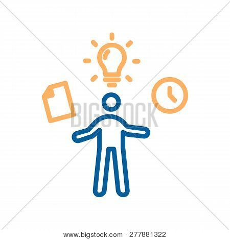 Trendy Thin Line Work In Progress Icon. Vector Illustrator Of A Person Multi-tasking And Getting His