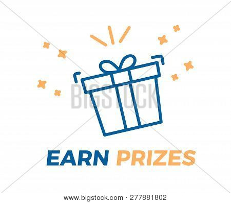 Earn Prizes Vector Illustration Background. Prize Gift Box About To Explode With Gifts And Surprises
