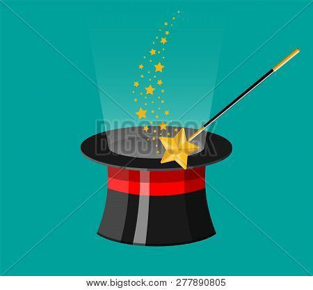 Magic Hat With Wand Rod. Illusionist Cylinder Hat With Magical Stick. Circus, Magical Show, Comedy.