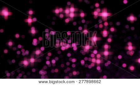 Pink Valentine Background Blur With Bokeh Effect, Love Valentine On Black, Pink Bokeh On Black Backg