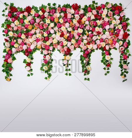 Wedding Decoration, Spring And Summer Concept - Composition Of Colorful Roses And Peonies Flowers Ov