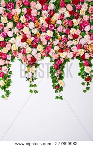 Spring And Summer Background - Close Up Of White Wall With Colorful Flowers Composition