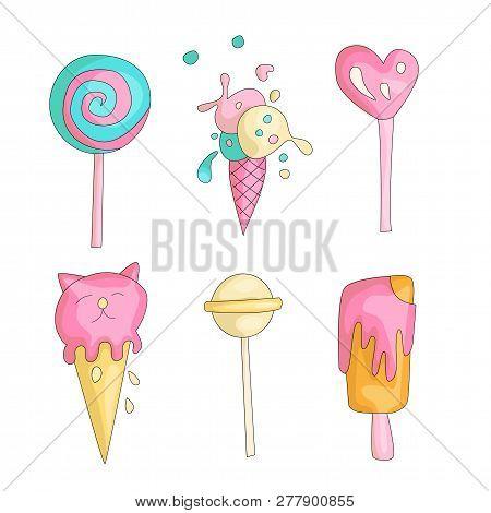 Cute Funny Girl Teenager Colored Icon Set, Fashion Cute Teen And Princess Icons. Magic Fun Cute Girl