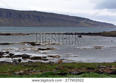 West Fjords View In Iceland At Rainy Day