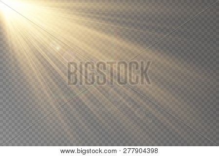 Light Flare Special Effect With Rays Of Light. Glow Transparent Vector Light Effect Set, Explosion,