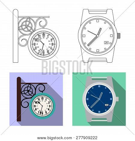 Vector Illustration Of Clock And Time Logo. Set Of Clock And Circle Vector Icon For Stock.