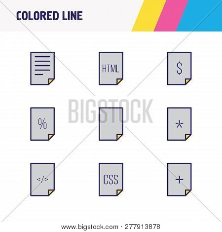 Vector Illustration Of 9 Page Icons Colored Line. Editable Set Of Html, Empty Page, Important File A