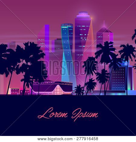 Metropolis In Tropics Cartoon Vector Banner In Neon Colors. Resort City Nightlife Concept With Illum