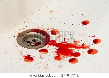 blood drain bathroom sink. red on white poster