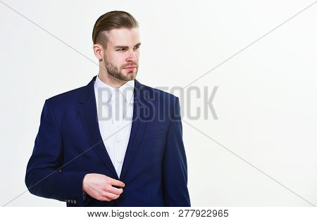 Individual Entrepreneur Business. Man Well Groomed Business Formal Suit White Background. Business M