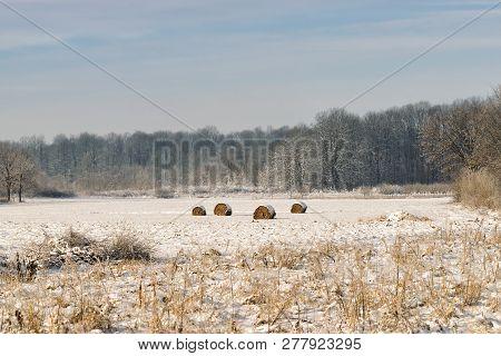 Countryside Landscape In Winter. Winter In Countryside Fields. Hayricks In Winter Fields. Countrysid