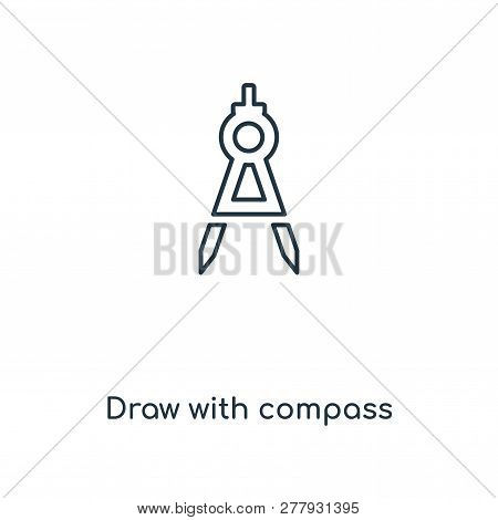 Draw With Compass Icon In Trendy Design Style. Draw With Compass Icon Isolated On White Background.