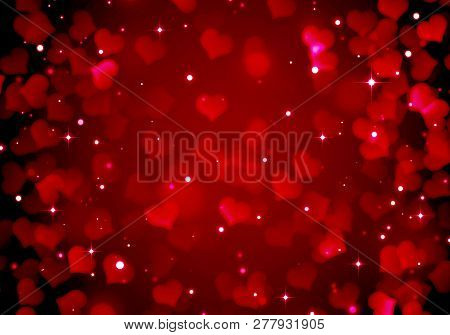 Festive Red Background For Valentine's Day, Romance, Red Hearts, Blurred Bokeh Background Of Red And