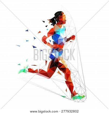 Running Woman, Low Polygonal Isolated Vector Illustration. Run