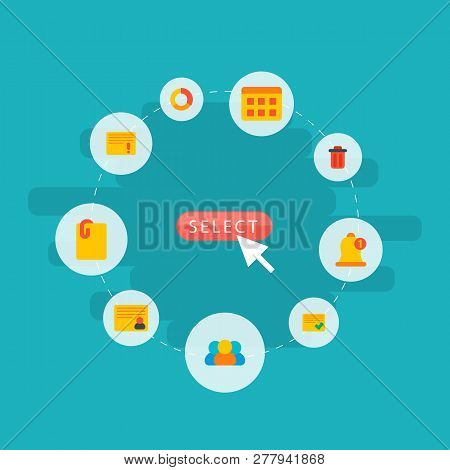 Set Of Project Icons Flat Style Symbols With Important Task, Personal Task, Attach File And Other Ic