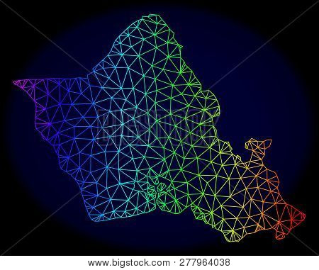 Rainbow Colored Mesh Vector Map Of Oahu Island Isolated On A Dark Blue Background. Abstract Lines, T