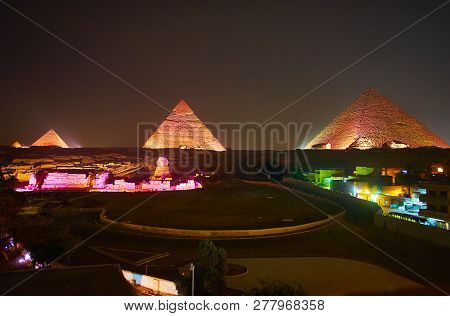 Enjoy The Evening Light Show In Giza, This Event Attracts The Tourists To Watch Pyramids And Sphinx,