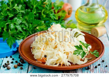 Homemade Sauerkraut Sour White Cabbage Fermented With Carrot And Honey