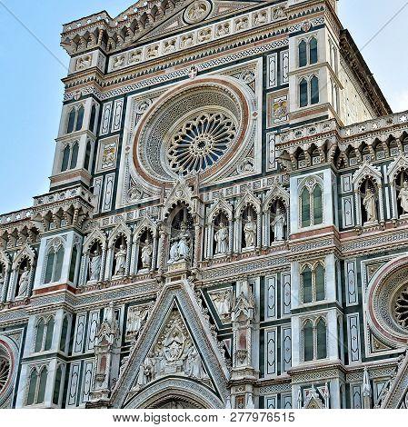 Duomo Florence Cathedral (santa Maria Del Fiore). Italian Renaissance. Top Of Awesome Marble Facade