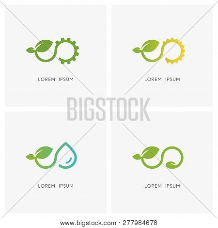 Infinity Nature Logo Set. Plant Or Sprout With Green Leaves And Gear Wheel, Sun, Drop Of Water And S